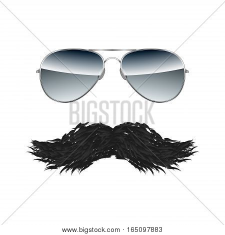 Glasses with Mustache isolated on white background vector illustration