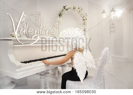 little cute baby boy beautiful angel with wings Cupid Valentine's piano