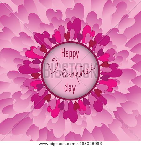 Tenderness. Pink flower of hearts, Vectorial image. Design of greeting-card with Day of Valentin. Abstraction. Pink flower with petals from hearts.