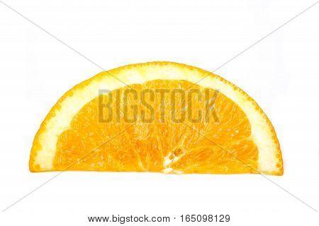 A segment of orange isolated on white