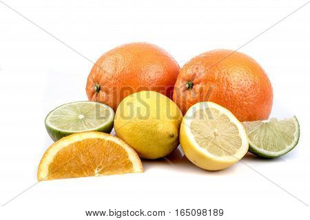 A selection of citrus fruits isolated on white