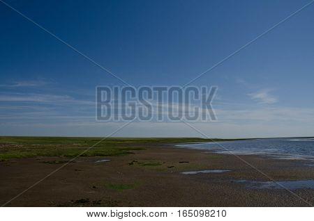 Summer at the wadden sea, Denmark with blue sky