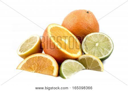 A selection of various citrus fruits isolated on white
