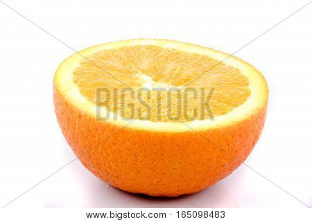 Half an orange isolated against a white background
