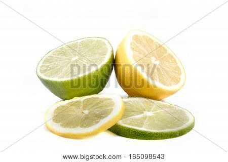 Lemon & Lime halves with slices isolated