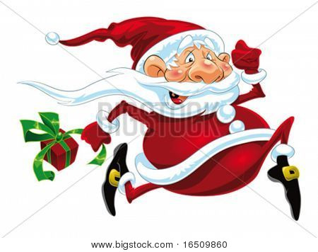 Santa Claus Running. Funny cartoon and vector isolated character