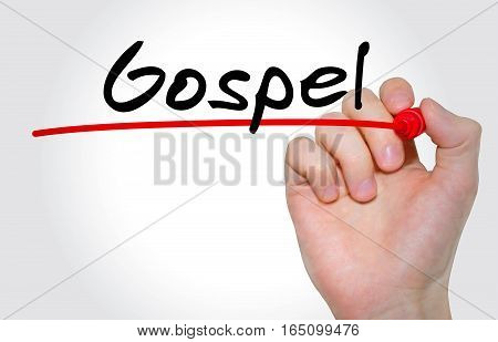 Hand Writing Inscription Gospel With Marker, Concept