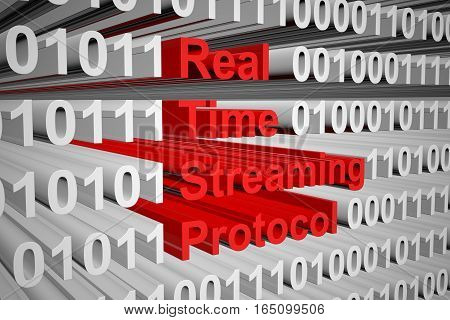 Real Time Streaming Protocol in the form of binary code, 3D illustration