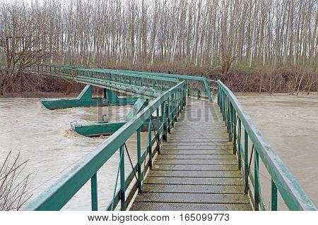 Mobile bridge over Mures River, Romania, Europe