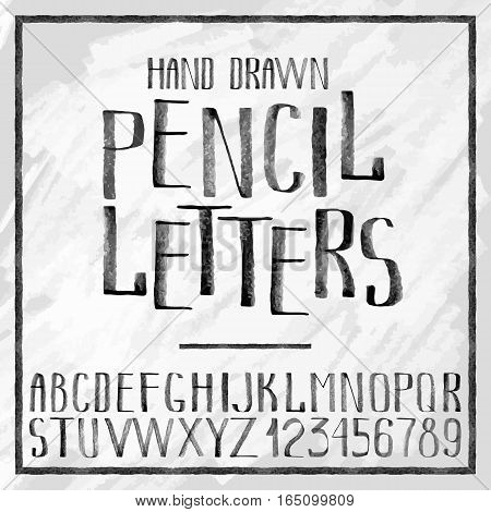 Pencil hand drawn alphabet on craft paper background. Autotraced vector letters and numerals