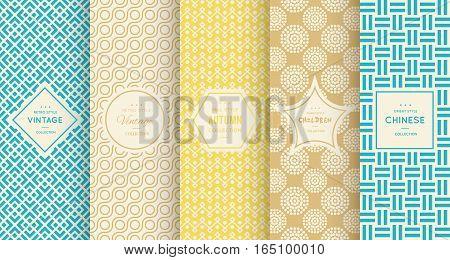Bright retro seamless pattern background. Vector illustration for elegant design. Abstract geometric frame. Stylish decorative label set. Pale light color. Monochrome geometric ornament