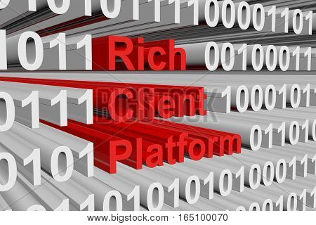 Rich client platform is presented in the form of binary code 3d illustration