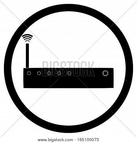 Icon router black white. Router with antrenna for internet network vector illustration