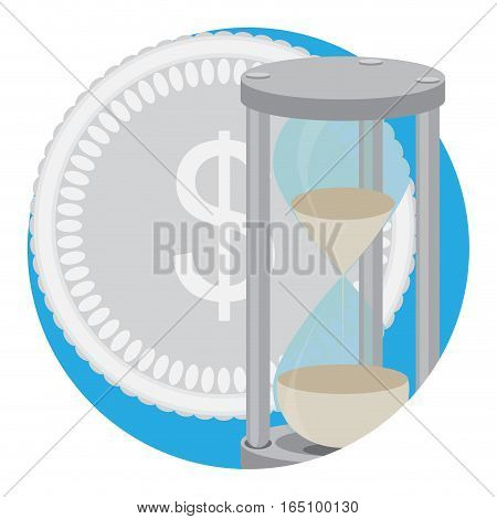 Time money icon vector. Time management money and clock, save time and money illustration