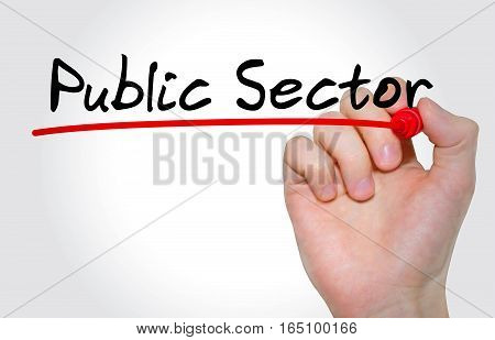 Hand Writing Inscription Public Sector With Marker, Concept