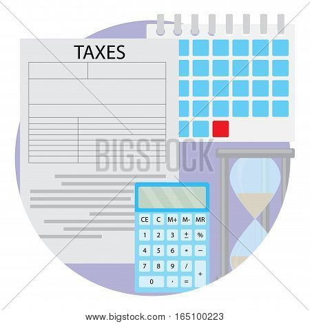 Tax day icon. Report tax budget payment to government hourglass and calendar vector illustration