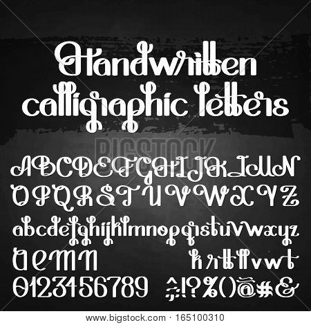 Handwritten calligraphic script. Ornate graphic alphabet. Vector font. Uppercase and lowercase letters and numerals isolated on chalkboard