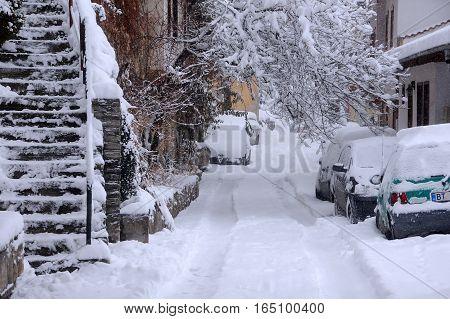 VELIKO TARNOVO BULGARIA - JANUARY 6 2017: Snowy urban General Gurko street on the winter day