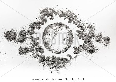 Sun fire light symbol drawing made in ash dust as a dead star concept