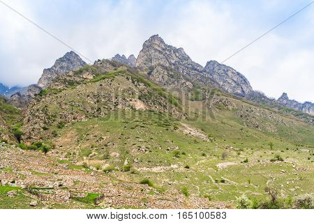 Beautiful mountains in Kabardino-Balkaria in Russia in spring