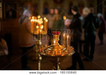 Interior Of Belarussian Orthodox Church In Easter In Gomel, Belarus. Easter Is The Most Popular Reli