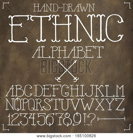Ethnic hand drawn alphabet on rough leather background.
