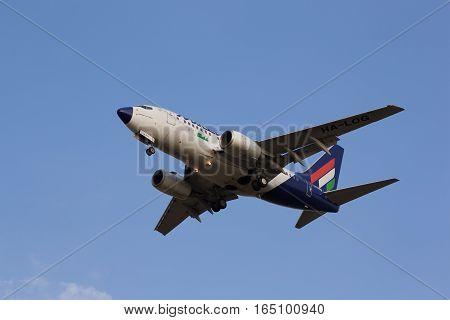 BUDAPEST HUNGARY - MARCH 23 2011: Malev Boeing 737-600 HA-LOG short before landing at Ferihegy Liszt Ferenc Airport on March 23 2011 in Budapest Hungary.