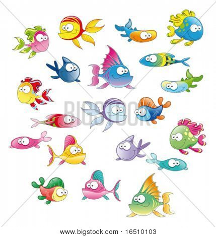 Family of fish.  Funny cartoon and vector character