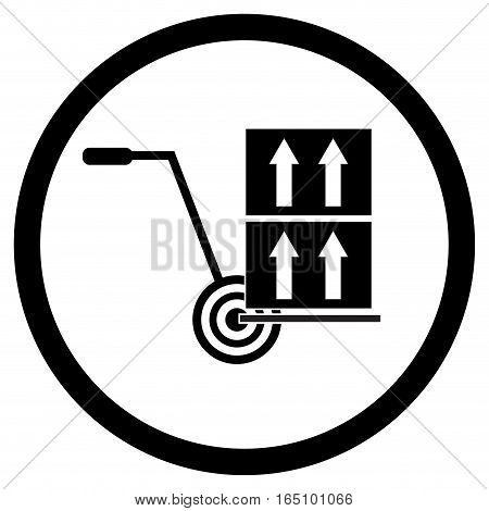 Icon delivery load. Delivery transportation with trolley. Vector illustration
