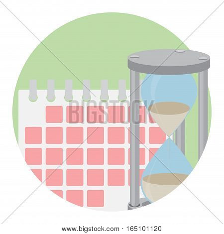 Management time icon. Clock hourglass time management calendar vector illustration