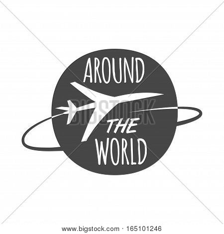 airplane flying around the world. Stock vector illustration logo.