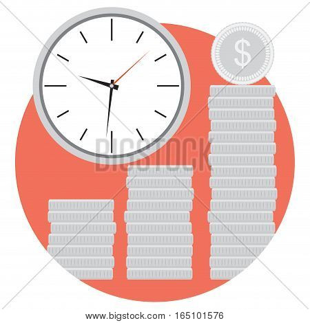 Icon money and time. Management and efficiency economic budget. Vector illustration
