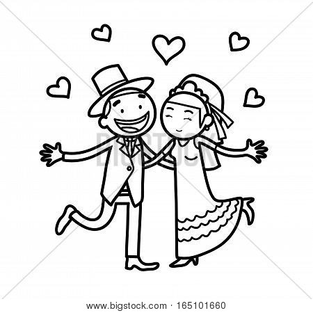 Newlywed Couple Just Married Doodle, a hand drawn vector cartoon illustration of a wedding couple.