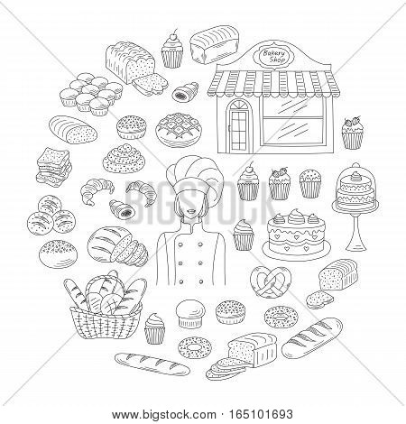 Bakery collection with female baker in chief uniform, bakery shop and fresh pastry collection with various sorts of breads and cakes. Hand drawn doodle style vector illustrations isolated on white.