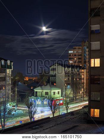 One Balkan city during night winter season.