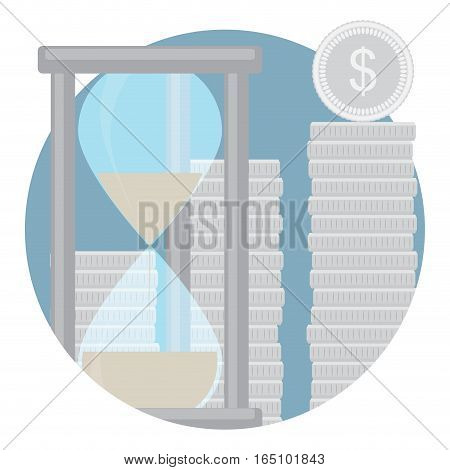 Capitalization of cash deposits icon. Capital finance and time. Vector illustration