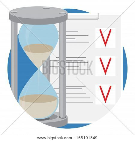 Plan business time icon flat. Hourglass and to do list. Vector illustration