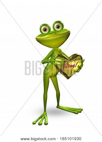 3D Illustration Frog with a Heart of Gold on a Green Background