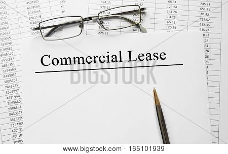 Paper With Commercial Lease On A Table