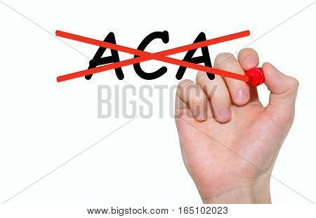 Hand writing inscription ACA with marker concept