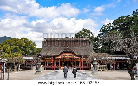 Elderly Couple walking in Dazaifu shrine in Fukuoka Japan