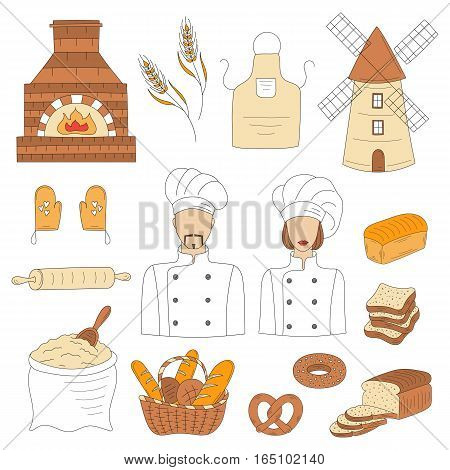Bakery collection with bakers in chief uniforms, old brick oven, wheat, mill, flour, kitchen apron and gloves, basket of various bread. Hand drawn doodle style vector illustrations isolated on white.