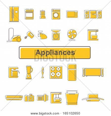 Line icons of home appliances. Equipment. 24 units
