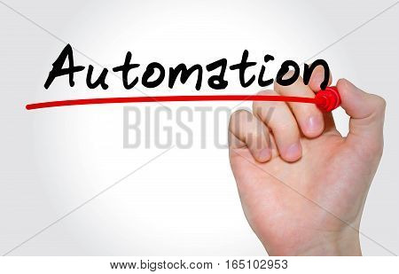 Hand Writing Inscription Automation With Marker, Concept
