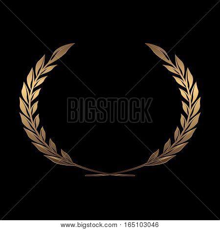 Vector gold award wreaths, laurel on black background vector illustration
