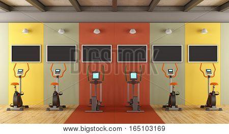 Colorful Gym With Statiobary Bike