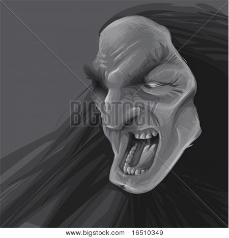 Scary face with background
