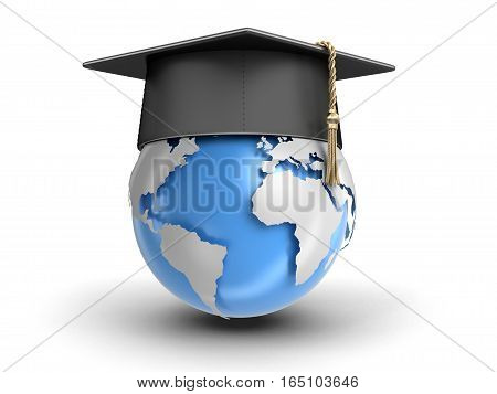 3D Illustartion. Graduation cap and Globe. Image with clipping path