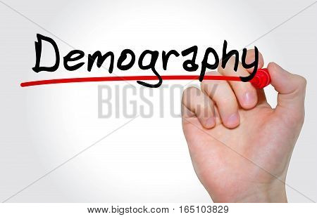 Hand Writing Inscription Demography With Marker, Concept