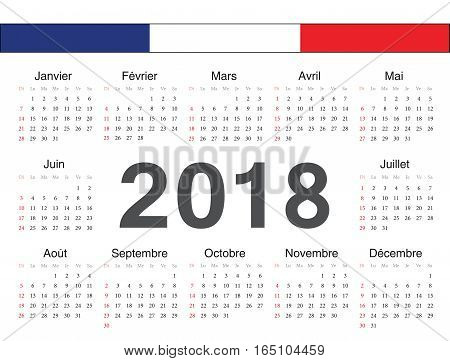 Vector French Circle Calendar 2018